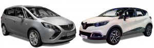 Opel Zafira and Renault Captur's registrations jumped 208% and 117% respectively over February 2015.