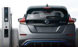 Rear view of Leaf EV Car at charging station