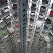 Cars in architectural stacked parking zone