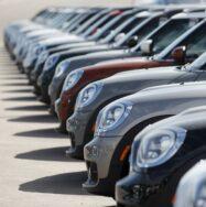 Row of new European cars
