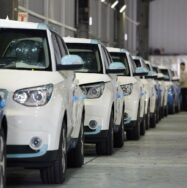Electric cars in factory production line