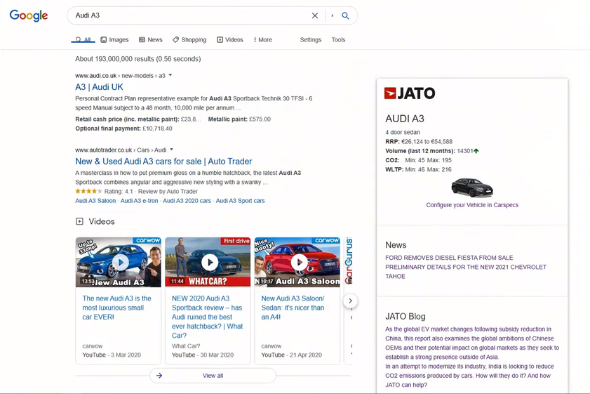 Google search results screenshot of a query for 'Audi A3' that includes additional JATO information supplied by the JATO Chrome Extension